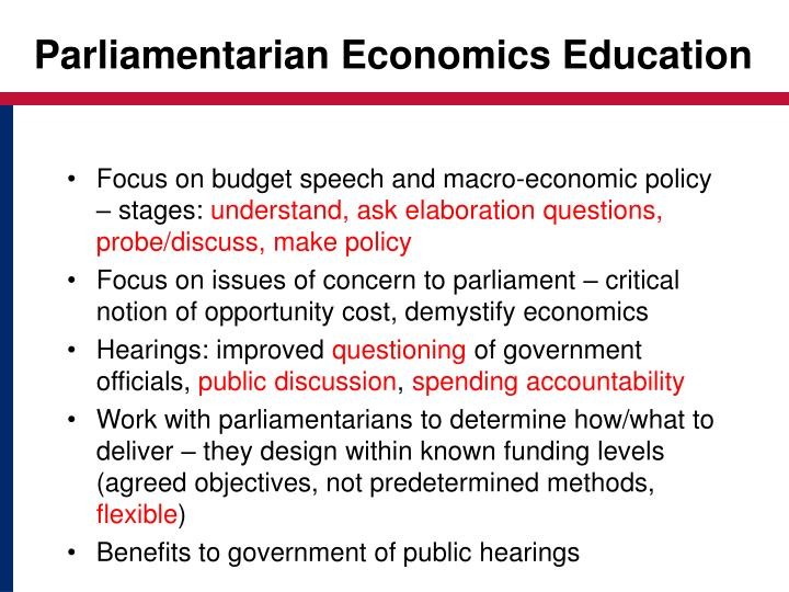 Parliamentarian Economics Education