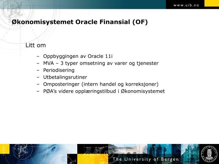 Økonomisystemet Oracle Finansial (OF)