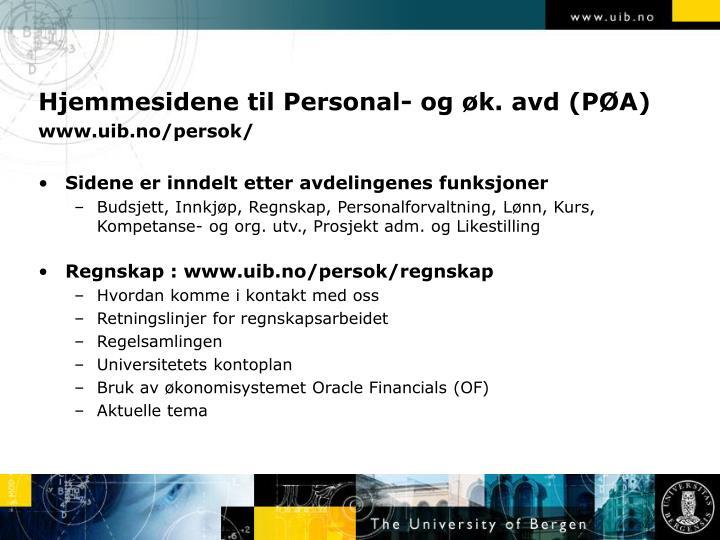 Hjemmesidene til Personal- og øk. avd (PØA)