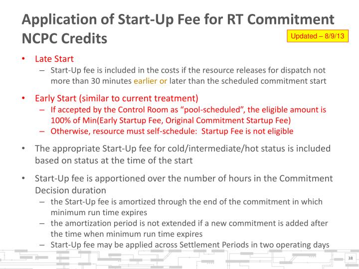 Application of Start-Up Fee for RT Commitment NCPC Credits
