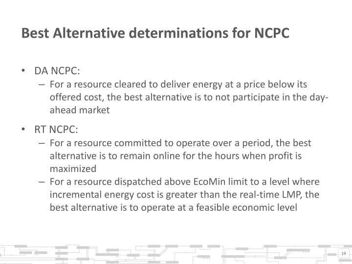 Best Alternative determinations for NCPC