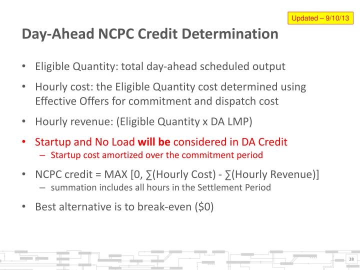 Day-Ahead NCPC Credit Determination