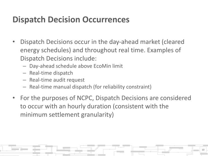 Dispatch Decision Occurrences