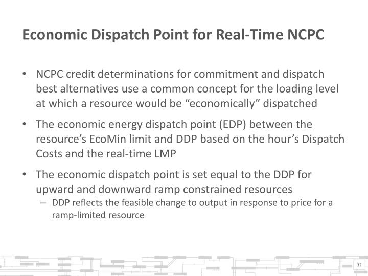 Economic Dispatch Point for Real-Time NCPC