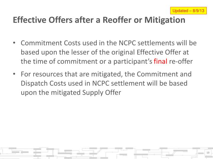 Effective Offers after a Reoffer or Mitigation