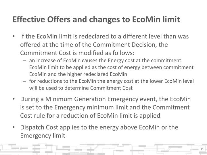 Effective Offers and changes to EcoMin limit