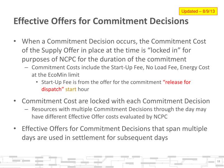 Effective Offers for Commitment Decisions