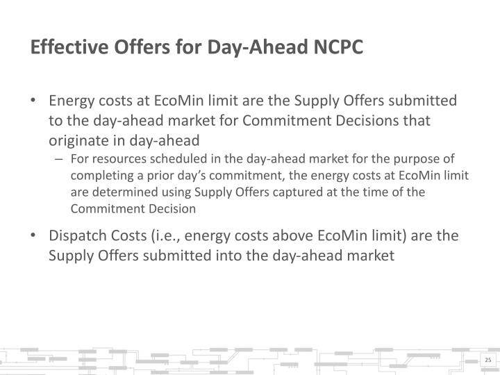 Effective Offers for Day-Ahead NCPC