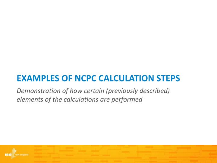 Examples of NCPC CALCULATION Steps