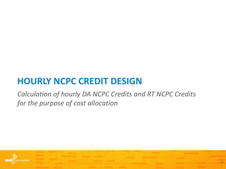 Hourly NCPC Credit DESIGN