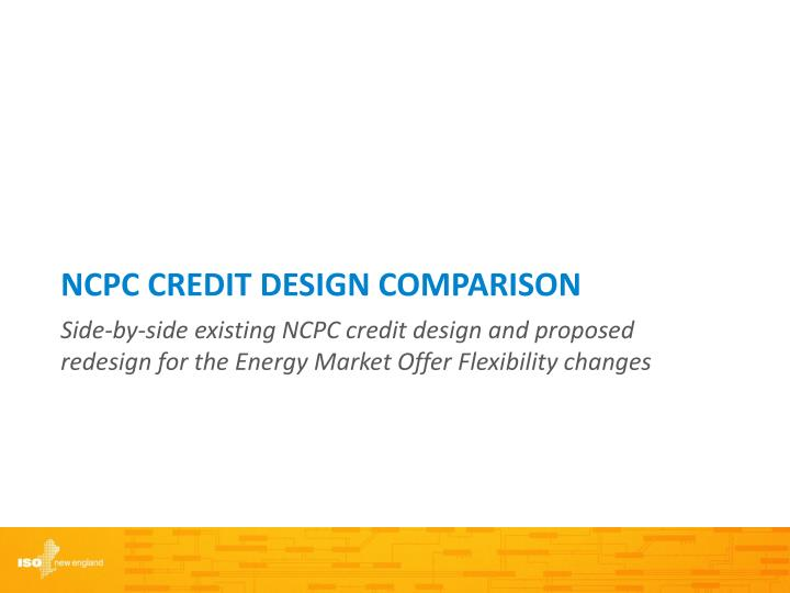 NCPC CREDIT DESIGN Comparison