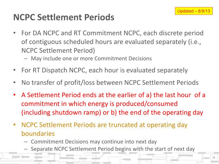 NCPC Settlement Periods