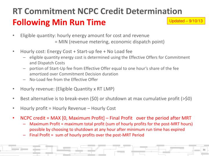 RT Commitment NCPC Credit Determination