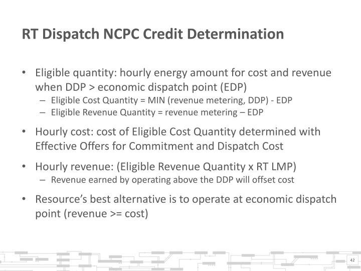 RT Dispatch NCPC Credit Determination
