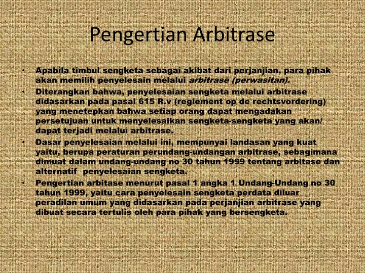 Pengertian Arbitrase