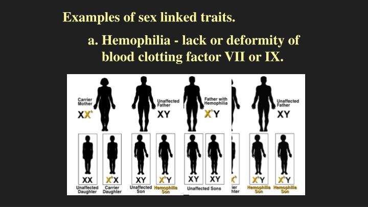 Examples of sex linked traits.