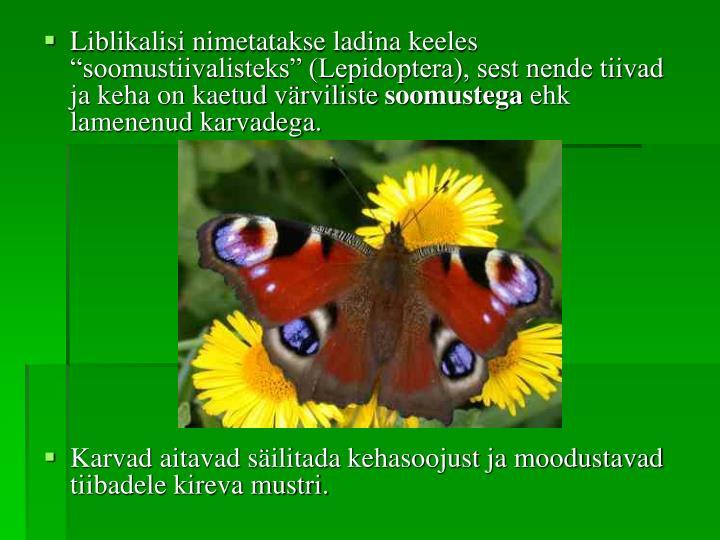 """Liblikalisi nimetatakse ladina keeles """"soomustiivalisteks"""" (Lepidoptera), sest nende tiivad ja keha on kaetud värviliste"""