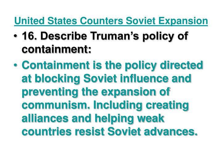 United States Counters Soviet Expansion
