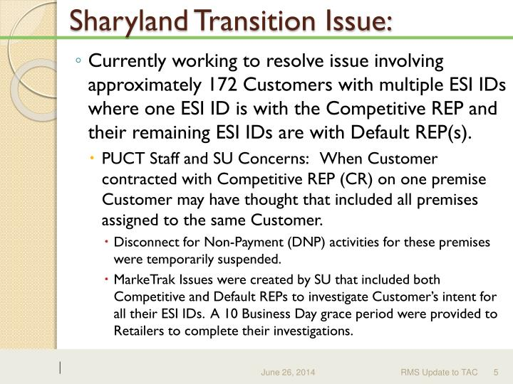 Sharyland Transition Issue: