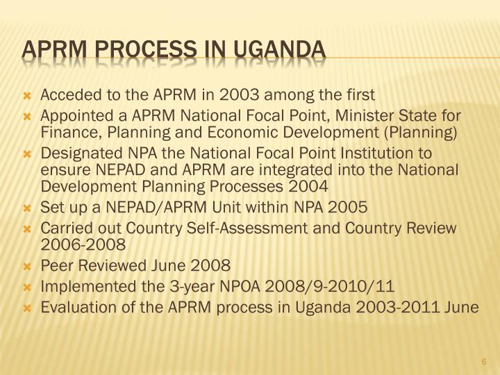 Acceded to the APRM in 2003 among the first