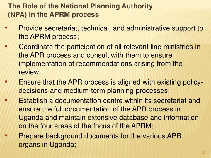The Role of the National Planning Authority (NPA)