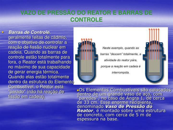 VAZO DE PRESSÃO DO REATOR E BARRAS DE CONTROLE