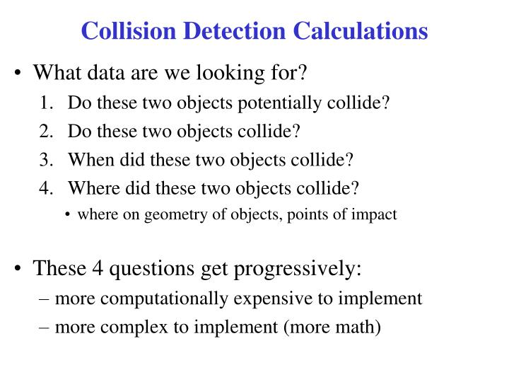 Collision detection calculations