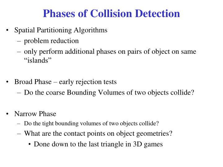 Phases of collision detection