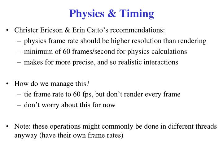 Physics & Timing