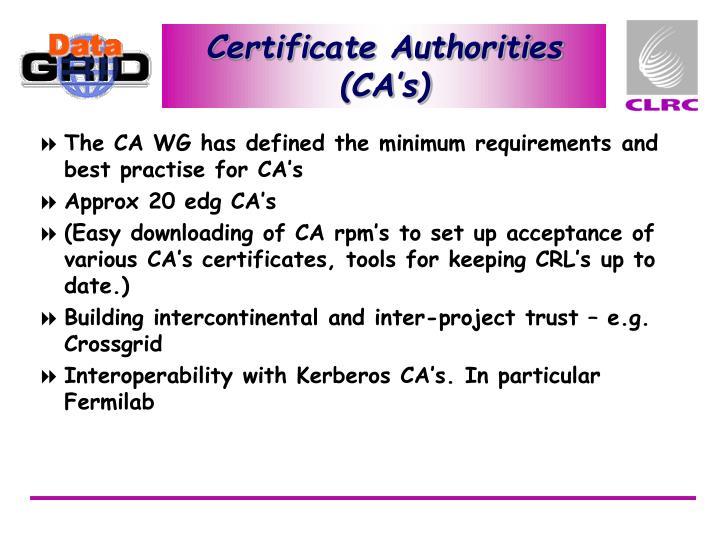 Certificate Authorities (CA's)