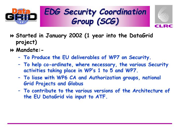 EDG Security Coordination Group (SCG)