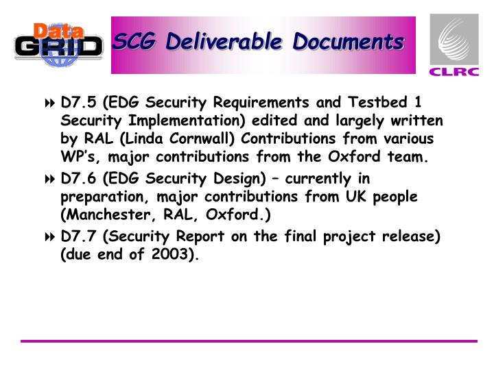 SCG Deliverable Documents