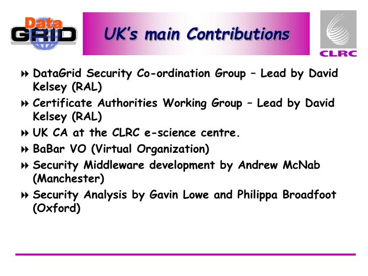 UK's main Contributions