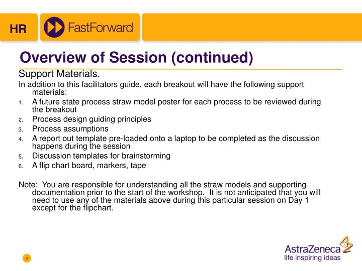 Overview of session continued