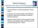 study findings based on site visits to 9 local programs