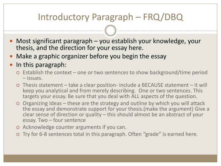 Introductory Paragraph – FRQ/DBQ