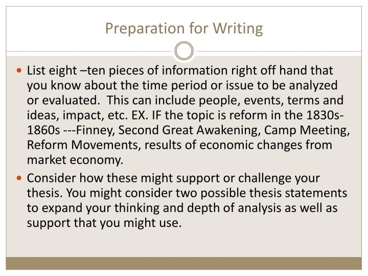 Preparation for Writing