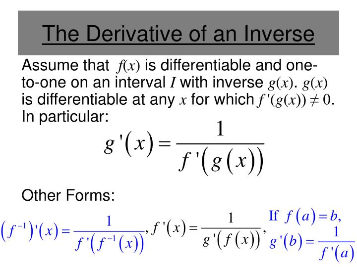 The Derivative of an Inverse