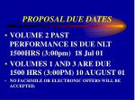 proposal due dates