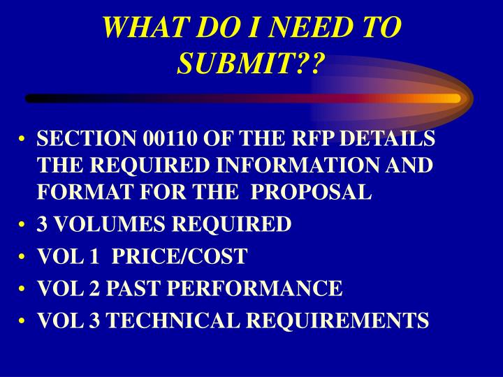 WHAT DO I NEED TO SUBMIT??