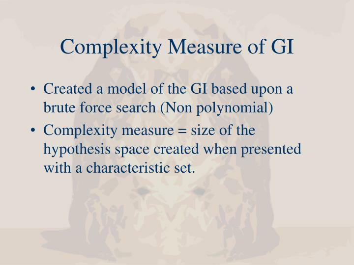 Complexity Measure of GI