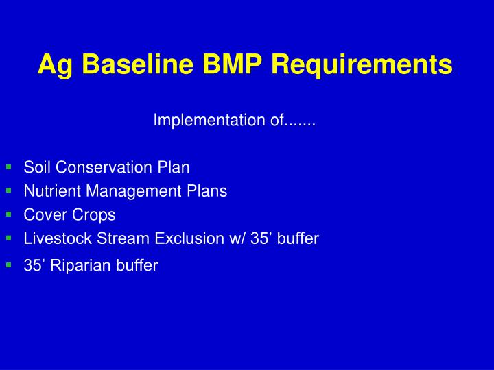 Ag Baseline BMP Requirements