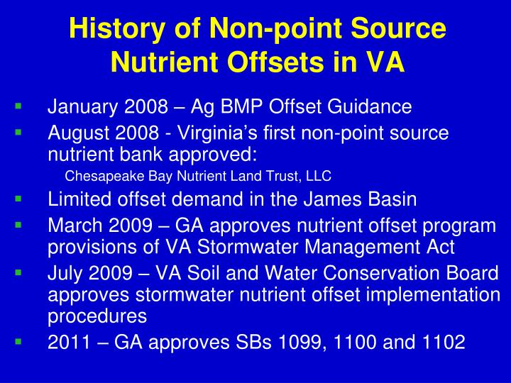 History of Non-point Source Nutrient Offsets in VA