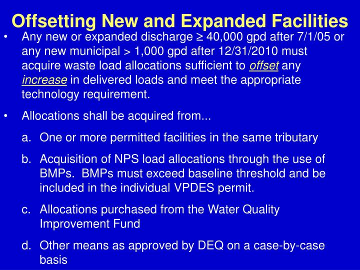 Offsetting New and Expanded Facilities