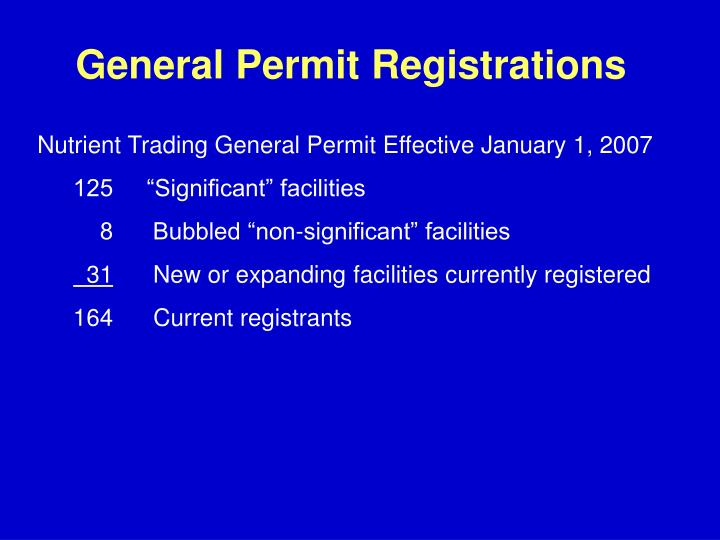 General Permit Registrations