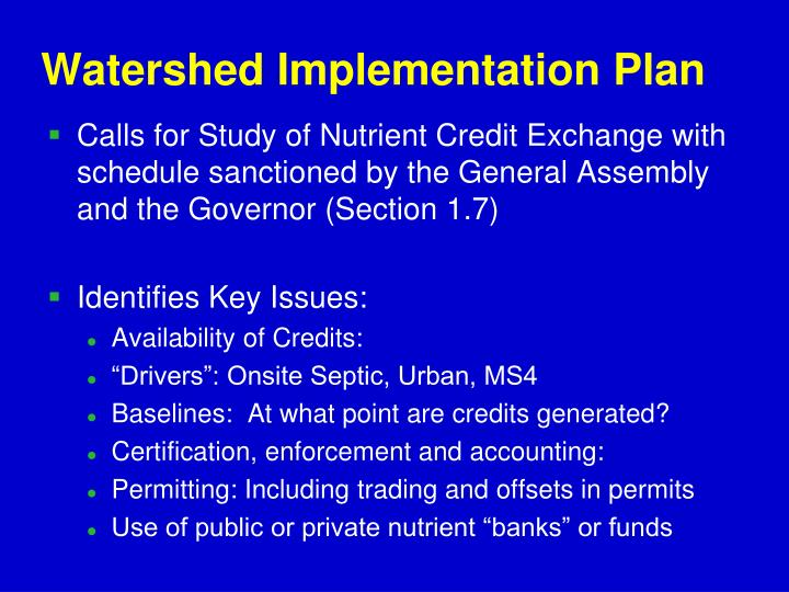 Watershed Implementation Plan