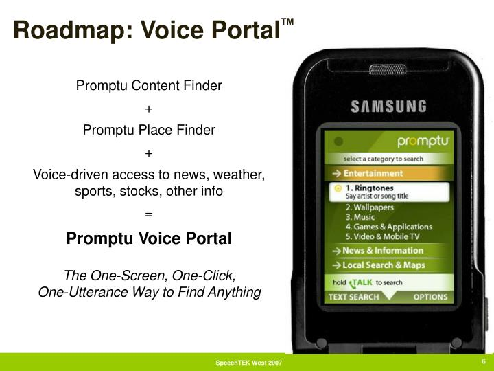 Roadmap: Voice Portal