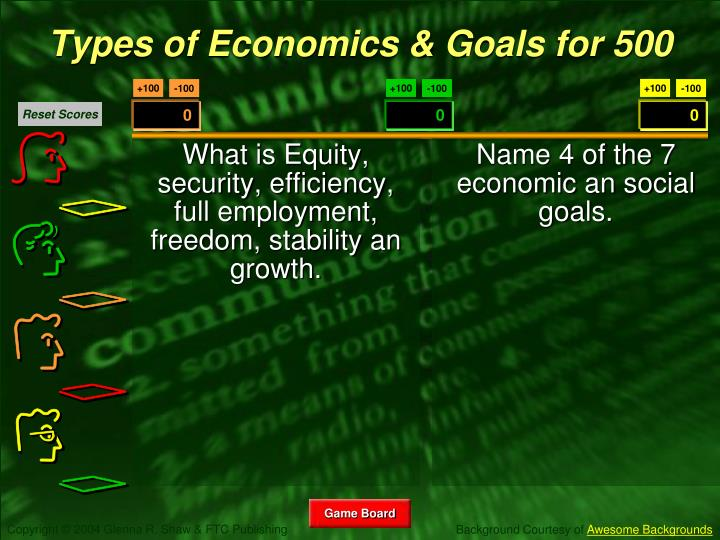 What is Equity, security, efficiency, full employment, freedom, stability an growth.