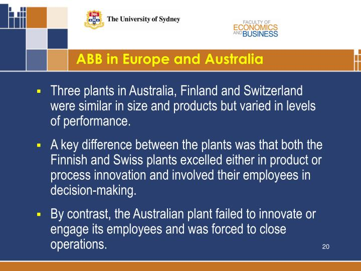 ABB in Europe and Australia
