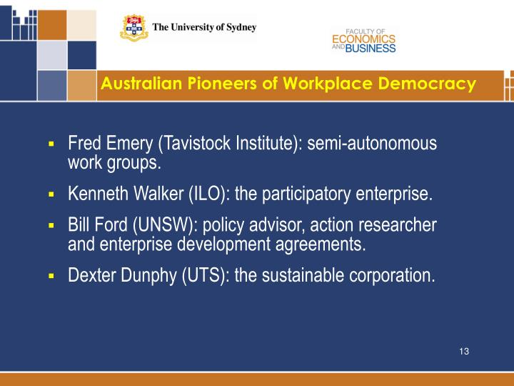 Australian Pioneers of Workplace Democracy